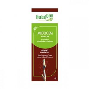 HerbalGem Midogem Confort BIO 30 ml BIO Pour atténuer les désagréments liés aux tensions, au niveau de la tête Circulation Cérabrale
