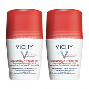 Vichy Détranspirant Intensif 72h - Roll On DUO Transpiration excessive Peau sensible Sans alcool Sans paraben