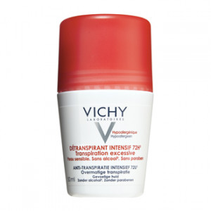 Vichy Détranspirant Intensif 72h - Roll On 50 ml Transpiration excessive Peau sensible Sans alcool Sans paraben