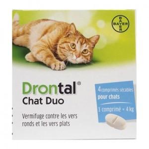 Bayer Drontal Chat -Comprimé Appétent - 4 Comprimés Vermifuge contre les vers ronds et les vers plats 4 comprimés sécables pour chat 1 comprimé = 4 kg 4007221043751