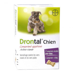 Bayer Drontal Chien -Comprimé Appétent Arôme Viande - 2 Comprimés Vermifuge contre les vers ronds et les vers plats 2 comprimés sécables pour chien 1 comprimé = 10 kg