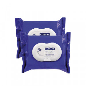 Lingettes Biodégradables Démaquillantes au Bleuet Apaisant - DUO - Klorane
