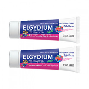 Elgydium Dentifrice Protection Caries Kids 50 ml Arôme Grenadine Lot de 2 hygiène dentaire de 2 à 6 ans