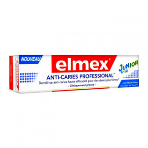 Elmex Dentifrice Anti-Caries Professional Junior 6-12 ans 75 ml Dentifrice enfant Avec neutraliseur d'acides de sucre