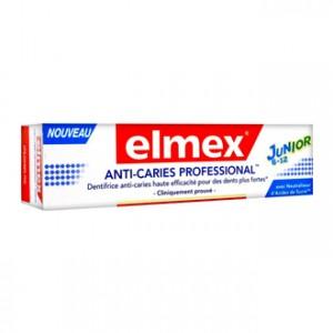 Elmex Dentifrice Anti-Caries Professional Junior 6-12 ans 75 ml Dentifrice enfant Avec neutraliseur d'acides de sucre