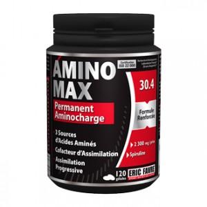 Eric Favre Amino Max 120 Gélules Recharge en acides aminés 3 sources d'acides aminés Soutien immunitaire Résistance physiologique 2300 mg par prise 1 mois