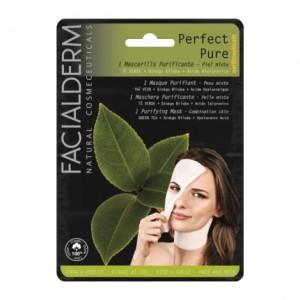 Facialderm Perfect Pure - Masque Purifiant - 1 Masque Pour peau mixte et grasse Thé vert + ginkgo biloba + acide hyaluronique Visage et cou 8436036431136