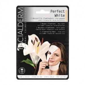 Facialderm Perfect White - Masque Illuminateur - 1 Masque Pour peau terne Fleur de lys + Vitamine B3 + acide hyaluronique Visage et cou 8436036431150