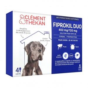 Clément Thékan Fiprokil Duo Chien de 40 kg à 60 kg - 4 Pipettes Antiparasitaire externes Pour chien Solution pour spot-on Puces et tiques