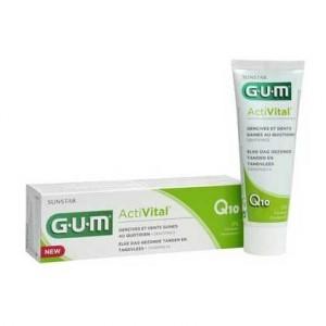 Gum ActiVital - Dentifrice Q10 - 75 ml Gencives et dents saines au quotidien Sans paraben A partir de 7 ans 7630019902472