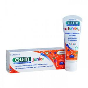 Gum Junior - Gel Dentifrice 7 à 12 ans Goût Tutti-Frutti 50 ml Favorise la prévention des caries Renforce l'émail