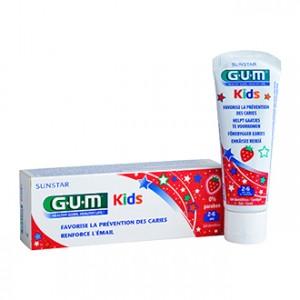 Gum Kids - Gel Dentifrice 2-6 ans Goût Fraise 50 ml Favorise la prévention des caries Renforce l'émail