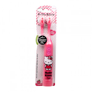 Hello Kitty - Brosse à Dents Souple à Piles + 1 Brosse Rotative Interchangeable OFFERTE