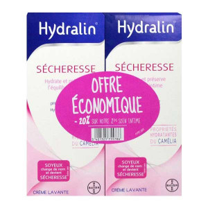 Hydralin Sècheresse DUO soit 2 x 200 ml HYDRALIN SOYEUX devient HYDRALIN SECHERESSE Hydrate et préserve l'équilibre intime 3401325755786
