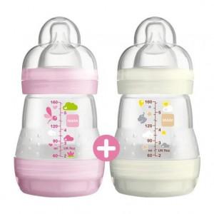 MAM 2 Biberons Anti-Colique 0+ mois Débit 1 Tétine ultra-douce Nettoyage facile 0% BPA