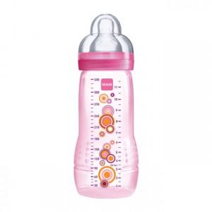 MAM Biberon 2ème âge 6+mois 330 ml - Rose Fleurs Tétine ultra-douce, 0% BPA, débit ultra rapide