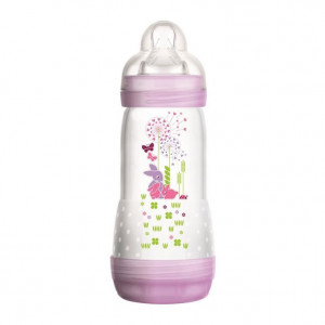 MAM Easy Start Anti-Colique - Biberon Rose Nature Meadow - 320 ml 0+ mois Débit 3 Tétine ultra-douce Nettoyage facile 0% BPA