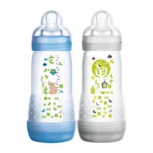 MAM Easy Start Anti-Colique - Biberon DUO - 320 ml 0+ mois Débit 3 Tétine ultra-douce Nettoyage facile 0% BPA 9001616676970