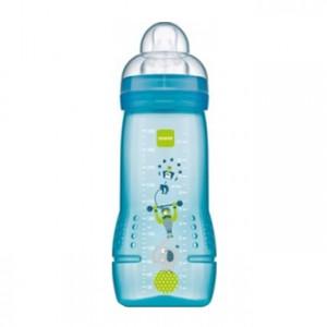 MAM Biberon 2ème âge 6+mois 330 ml - Bleu Tétine ultra-douce, 0% BPA, débit ultra rapide