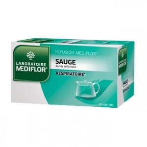 Mediflor Infusion - Sauge 24 Sachets Effet apaisant et agréable sur la gorge, le pharynx et les cordes vocales
