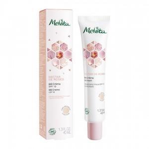 Melvita Nectar de Roses - BB Crème SPF 15 - 40 ml Teinte rose des sables Enrichie en eau florale de rose Pigments naturels BIO