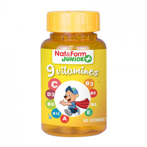Nat & Form Junior + 9 Vitamines - 60 Gommes A partir de 3 ans Vitamines A,B3, B6, B8, B9, B12, C, D3, E
