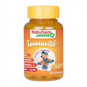 Nat & Form Junior+ - Immunité - 60 Gommes Vitaminées A partir de 3 ans Gelée royale, Vitamine C, Propolis,Meil Sans sucres ajoutés