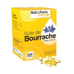 Nat & Form Original - Huile de Bourrache - 200 Capsules Beauté et éclat de la peau  Souplesse et élasticité de la peau