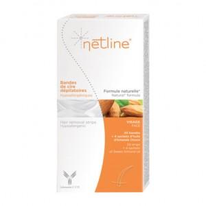 C.C.D Netline - Bandes de Cire Dépilatoire Visage 20 Bandes Spécial visage Hypoallergénique Formule naturelle sans paraben