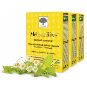 New Nordic Melissa Rêve Lot de 3 Boîtes Combat le stress et améliore le sommeil