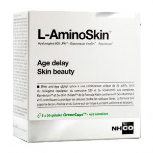 NHCO Nutrition L-AminoSkin - Age Delay Skin Beauty - 2x56 Gélules 2x56 gélules 4/8 semaines Effet anti-âge global Action matin & soir