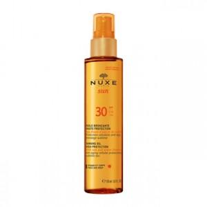 Nuxe Sun Huile Bronzante Visage et Corps SPF 30 150 ml votre soin solaire bronzage sublime et protection cellulaire anti-âge