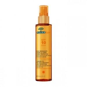 Nuxe Sun Huile Bronzante Visage et Corps SPF 10 150 ml votre soin solaire bronzage sublime et protection cellulaire anti-âge