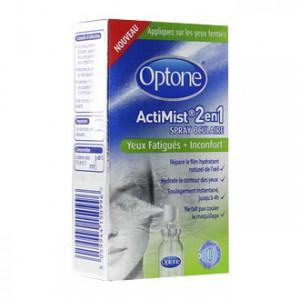Optone ActiMist 2 en 1 Spray Oculaire Yeux Fatigués + Inconfort 10 ml Usage adapté aux lentilles de contact Répare le film hydratant naturel de l'oeil Hydrate le contour des yeux Soulage instantanément jusqu'à 4h Ne fait pas couler le maquillage