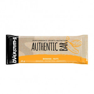 Overstims Authentic Bar - Saveur Bananes Amandes - 65gr Sports nutrition Sélection d'ingrédients de qualité Saveur gourmande Énergie progressive (+250 Kcal / barre) Antioxydants