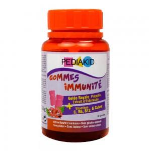 Pédiakid Gommes Immunité - 60 Gommes A partir de 3 ans Gelée royale, propolis, extrait d'Echinacée Vitamines C, B6, B12 et cuivre