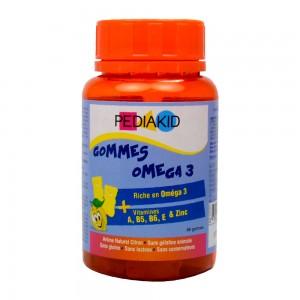 Pédiakid Gommes Oméga 3 - 60 Gommes A partir de 3 ans Riche en Oméga 3 Vitamines A, B5, B6, E et Zinc 3700225602337