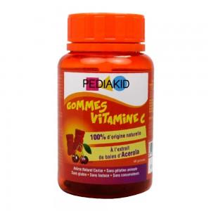 Pédiakid Gommes Vitamine C - 60 Gommes A partir de 3 ans 100% d'origine naturelle A l'extrait de baies d'Acérola 3700225602313