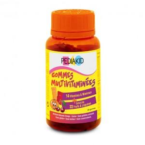 Pédiakid Gummies Multivitaminés Aromes Orange Cerise 60 Gommes Soutient le fonctionnement du système immunitaire et réduit la fatigue En forme d'ourson Dès 3 ans