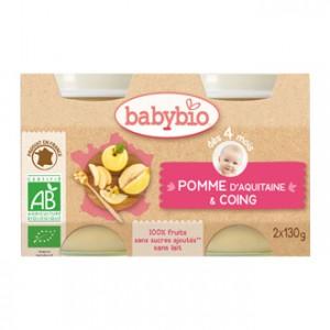 Babybio Petits Pots 100% Fruits BIO Saveur Pomme d'Aquitaine & Coing x2