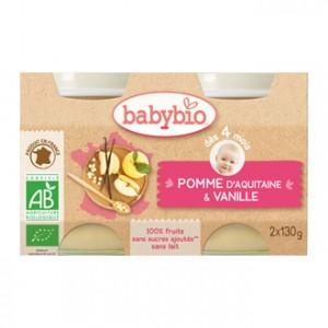 Babybio Petits Pots 100% Fruits BIO Saveur Pomme d'Aquitaine & Vanille x2
