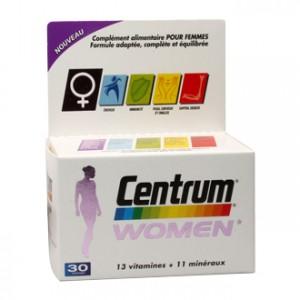 Pfizer Centrum Women 30 Comprimés 13 Vitamines et 11 minéraux Formule adpatée, complète et équilibrée