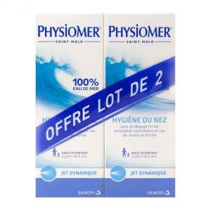 Physiomer Hygiène du Nez Jet Dynamique DUO 2 x 135 ml Lave et dégage le nez encombré notamment en cas de rhume et rhinite A partir de 6 ans