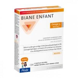 Pileje Biane Enfant - Omega 3, Vit D et E - Goût Orange Citron - 27 Pastilles Aide à la croissance et au bon développement osseux chez l'enfant A partir de 3 ans 3401560159837
