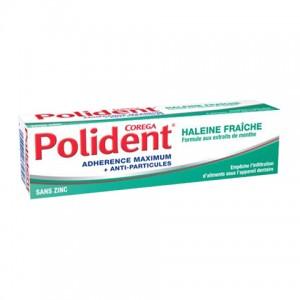 Polident Crème Fixative - Haleine Fraîche - 40g Adhérence maximum + anti-particules Sans zinc Empêche l'infiltration d'aliments sous l'appareil dentaire