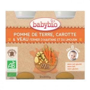 Babybio Petits Pots Menu BIO Pomme de Terre, Carotte & Veau fermier d'Aquitaine et du Limousin x2