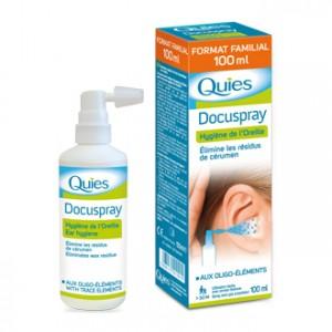 Quies Docuspray – Hygiène du Conduit Auditif 100 ml Format familial aux oligo-éléments Utilisation facile, avec pompe doseuse