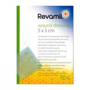 Revamil Compresse Imprégnée de Miel - 10 Compresses Taille 5 x 5 cm Pansements stériles au miel médical Antibactérien Apaisant Cicatrisant Idéal pour les plaies ou les brûlures