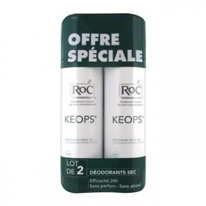 Roc Keops - Déodorant Spray Sec 150 ml Lot de 2 OFFRE SPÉCIALE Sans alcool et sans parfum