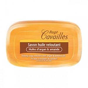 Rogé Cavallès Savon Huile Veloutant Huiles d'Argan et Amande - 115gr Idéal pour les peaux sensibles et sèches